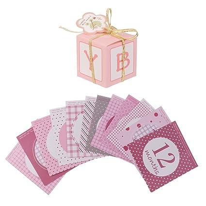 Gazechimp 12 Piezas / Set Mensual Pegatinas de Niña +12 Piezas Cajas de Papel de