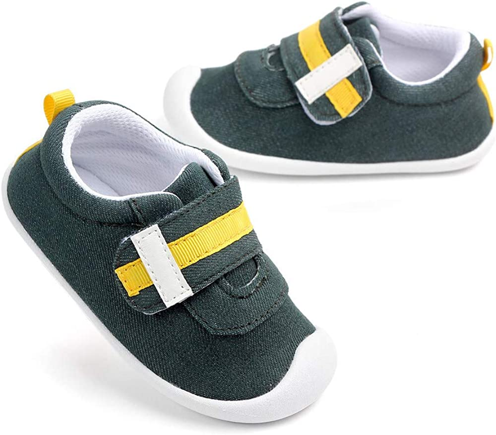 LIDIANO Baby Infant Toddler Non Slip Rubber Sole Crib Shoes First Walking Shoes Sneakers