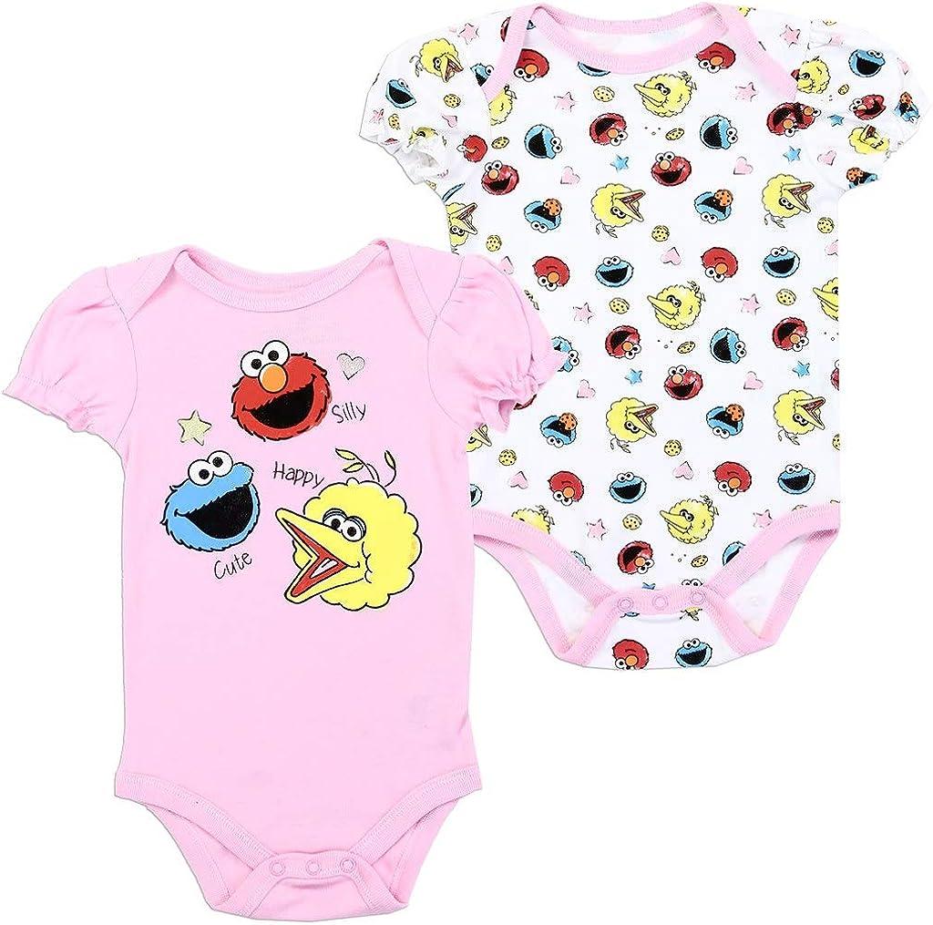 NEW Sesame Street 2 Pack Bodysuit Infant Baby Girl