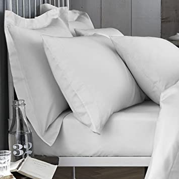 Bianca 100% Cotton Soft 200 Threadcount Extra Deep Fitted Bed Sheet   White    UK