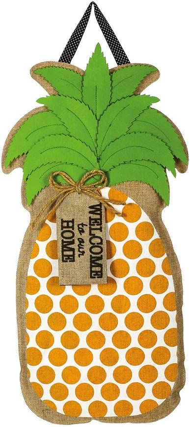 "Evergreen Flag Welcome to our Home Pineapple Hanging Outdoor-Safe Burlap Door Décor - 15""W x 20""H"