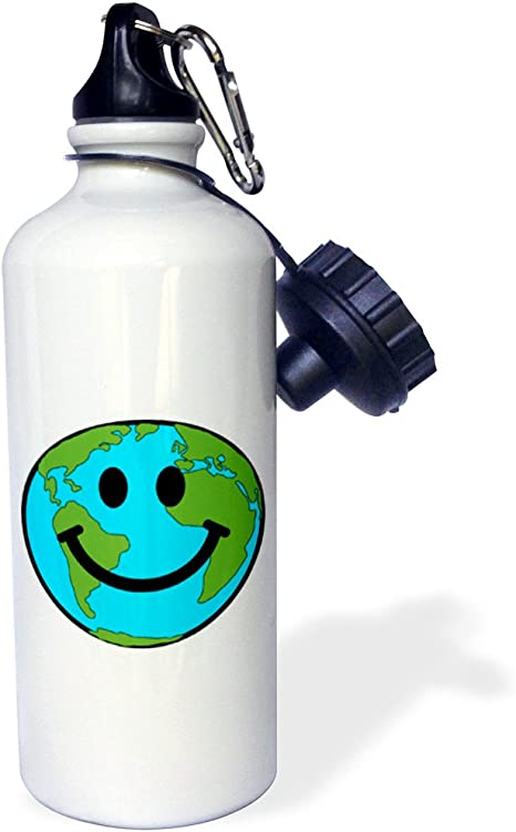 """Amazon.com: 3dRose """"Happy Earth smiley face smiling planet globe eco green  smile peaceful world peace cute smilie"""" Sports Water Bottle, 21 oz, White:  Kitchen & Dining"""