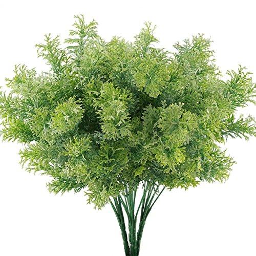 (GTIDEA 4PCS Artificial Fake Plants Outdoor Faux Plastic Cedar Shrub Greenery Bushes Home Office Garden Table Centerpieces Decor)