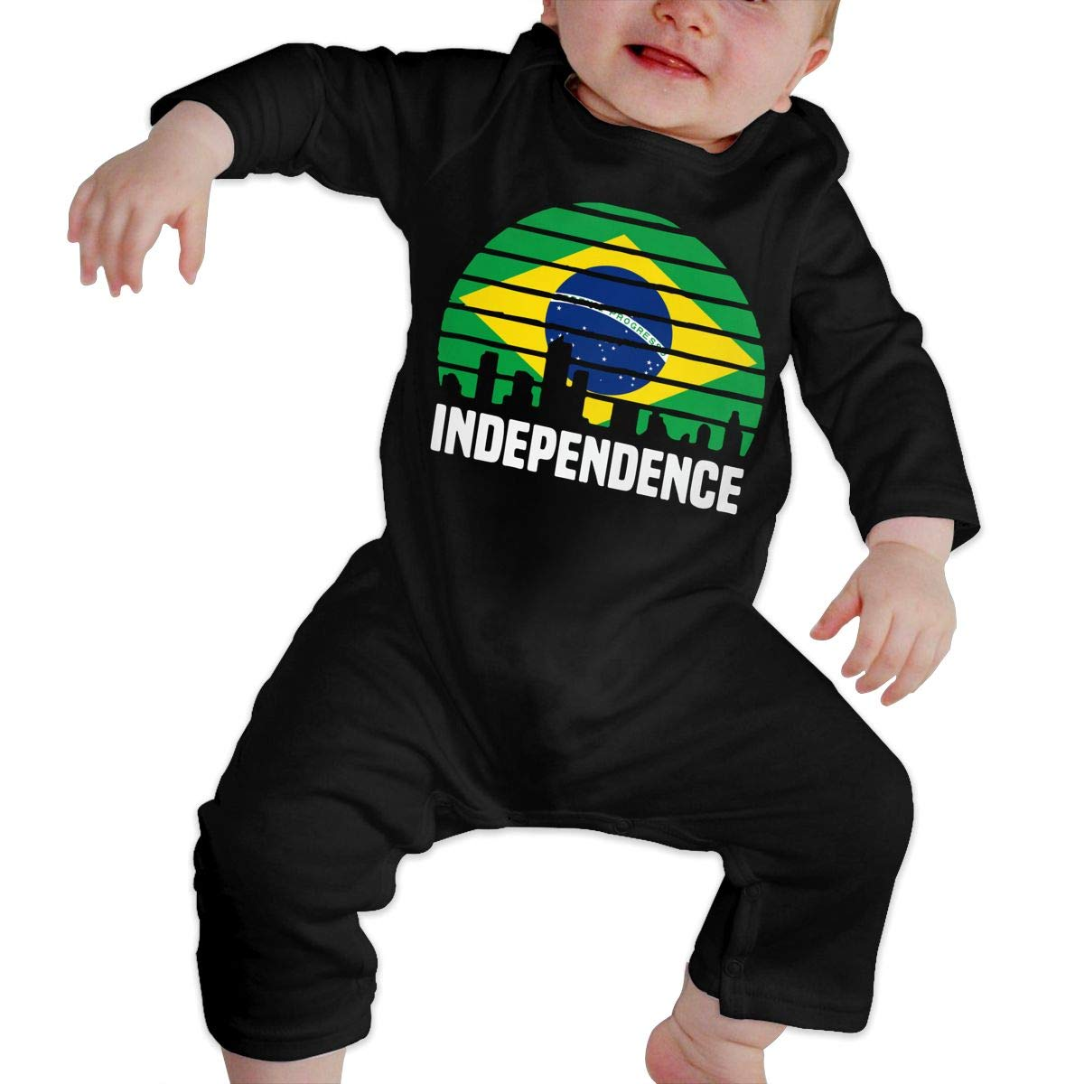 UGFGF-S3 Independence City Brazil Flag Baby Boy Long Sleeve Bodysuit Jumpsuit Onsies