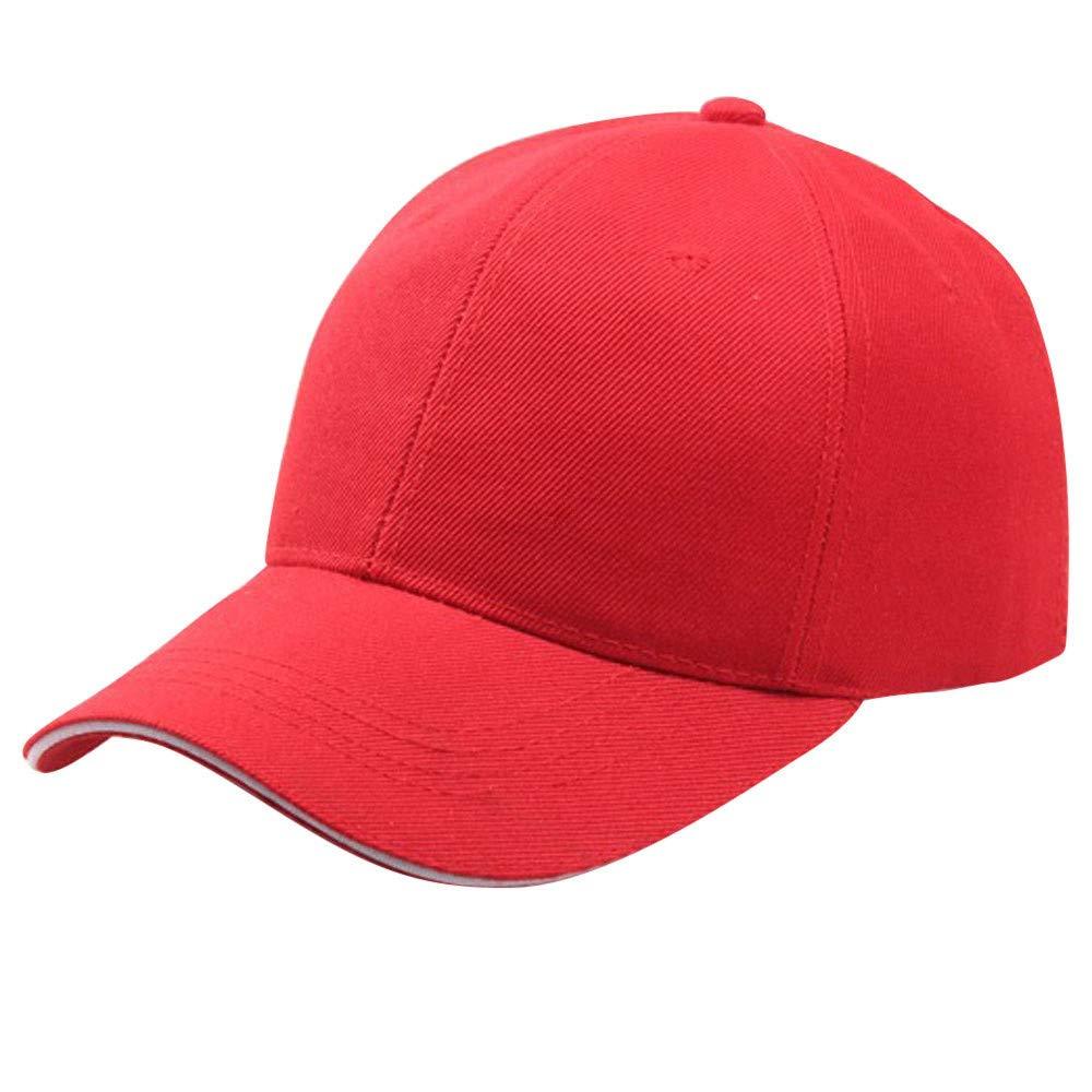 Yaseking Unisex Adjustable Baseball Cap, Washed Low Profile Cotton Plain Baseball Cap Hat Low Profile Cap( Red)