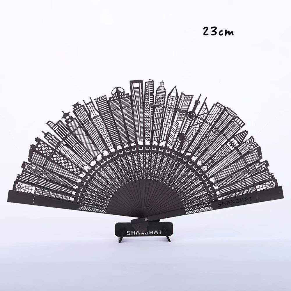 WEIFAN-1 Wooden Hand-held Folding Fan Retro Hollow Building Engraving Fan Wooden Fan Decorative Ornaments,A2