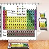 Nalahome Bath Suit: Showercurtain Bathrug Bathtowel Handtowel Modern Periodic Table of Elements PHD Chemistry Student Family Science Lover Education Multicolor