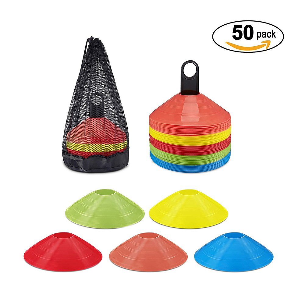 Little World Disc Cones Agility Training Soccer Disc Cones Multi Color Training Cones for Football Any Ball Game to Mark 50 Pack