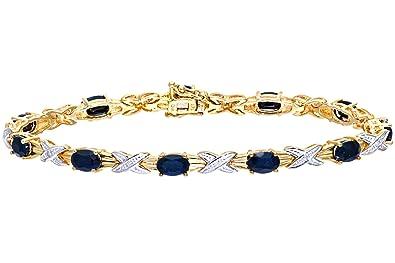 Naava Women's 9 ct Yellow Gold Prong Set 0.05 ct Diamond and Sapphire Bracelet i6olcj
