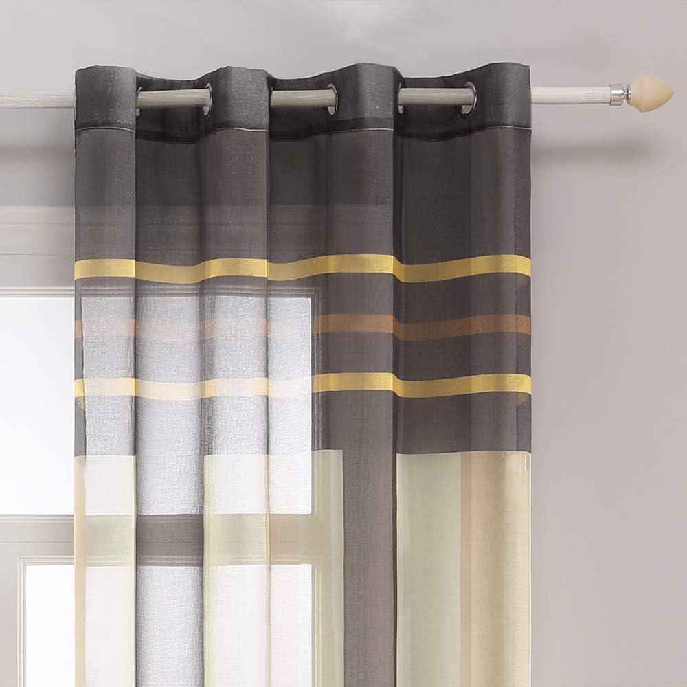 MIULEE 2 Panel Contemporary Decorative Ring Top Eyelet Voile Curtains Elegance Pinstripe Sheer Panels for Bedroom Livingroom Nursery Room 55 wide x 69 Drop Brown+Yellow 140cm x 175cm