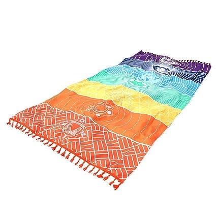 Aofocy Rainbow Chakra Tapiz Toalla Estera de Yoga Protector Solar Mantón  Tapiz Hippy Boho Gypsy 0bbad9f4e9d4