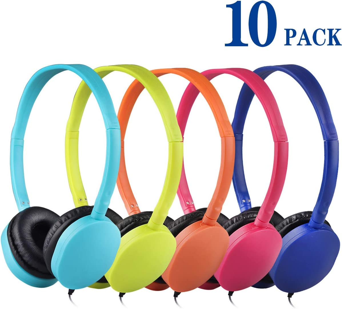 Kids Headphones Bulk 10 Pack Multi Colored for School Classroom Students Kids Children Teen and Adults Mixed Colors