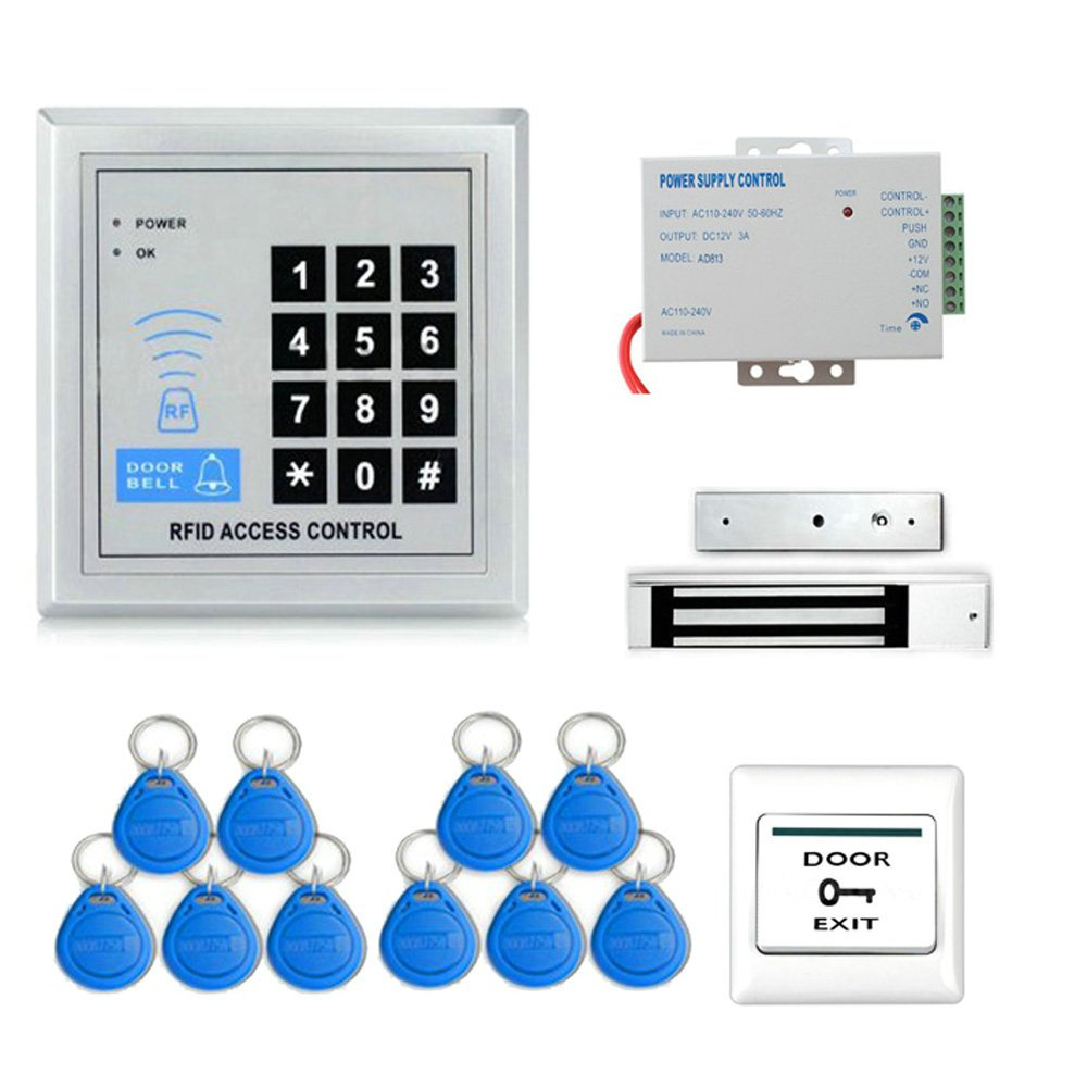 Full Rfid Door Access Control System Kit Set 180kg Keypad K2000 Wiring Diagram 350lb Electric Magnetic Lock Armature Faceplate Power Supply Push