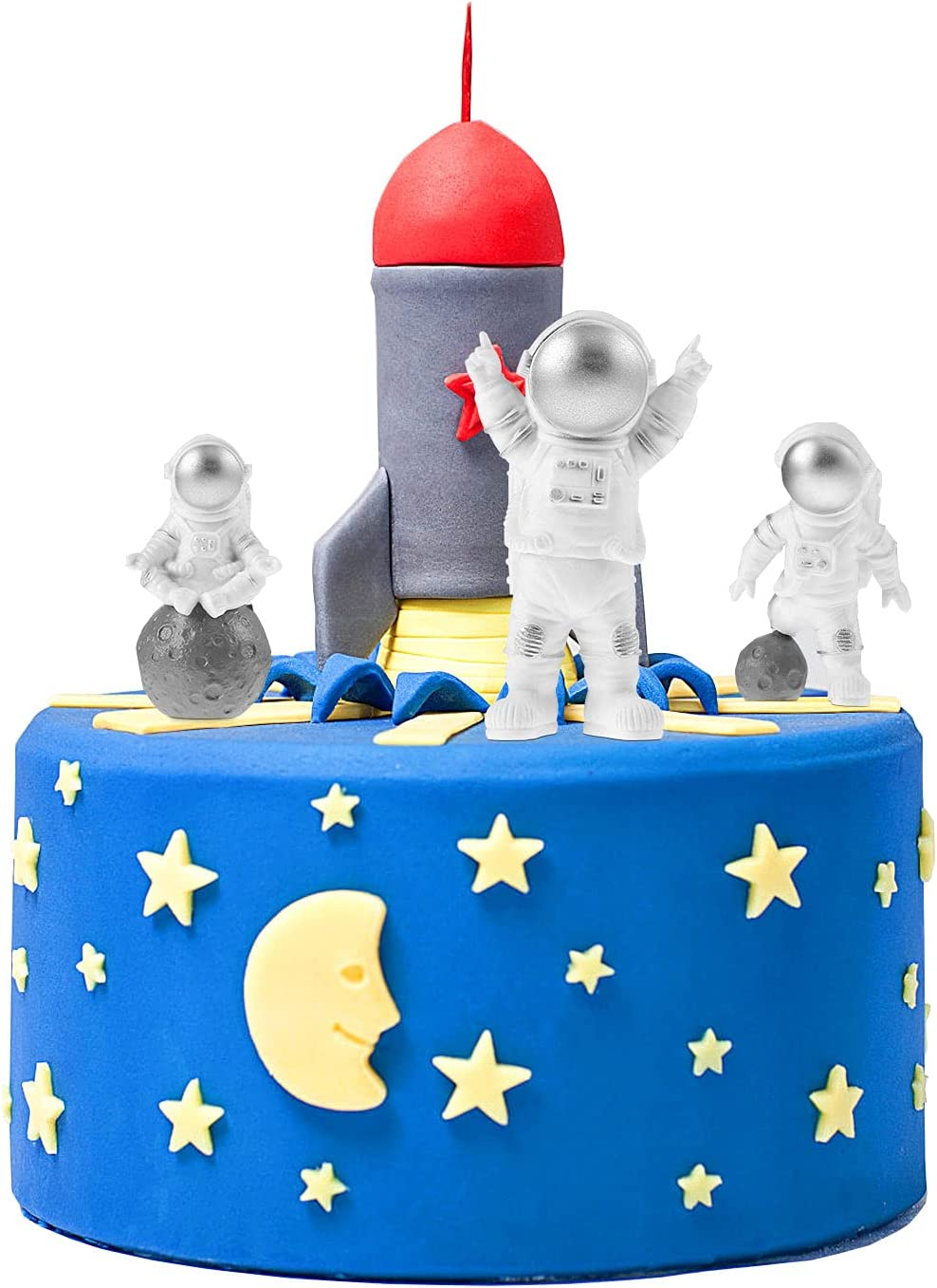 BESTOYARD Outer Space Themed Cake Topper Decor Astronaut Party Decorations Astronaut Figurines Toys Boys Kids Room Bedroom Car Dashboard Decor 3pcs