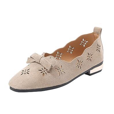 2f57fb2349a Chaussures ADESHOP Mode Mocassins à NœUd Papillon Unis pour Femmes à Bouts  CarréS Et à Bout