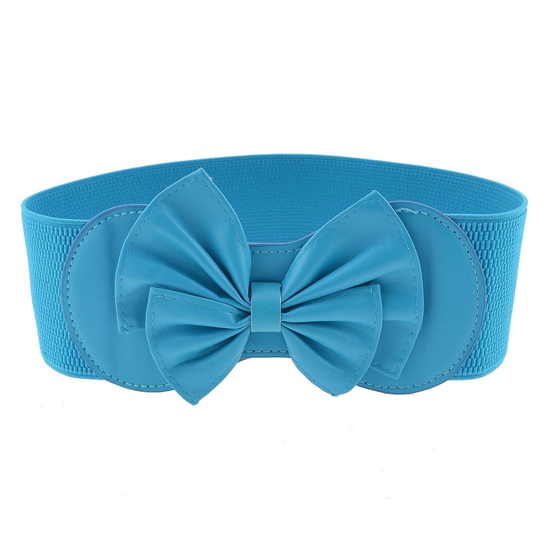 Ladies Sky Blue Bowknot Decor Press Stud Button Stretchy Waist Belt Waistband