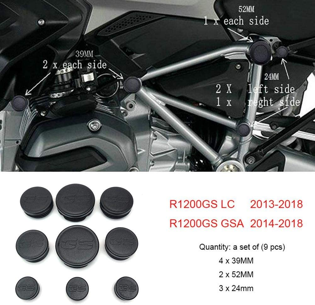 Splendidsun 9PCS Motorcycle Frame Hole Caps Plug Decorative for BMW R1200GS R 1200 GS R1200 GS LC Adventure 2013 2014 2015 2016 2017 2018 Frame Cap Set
