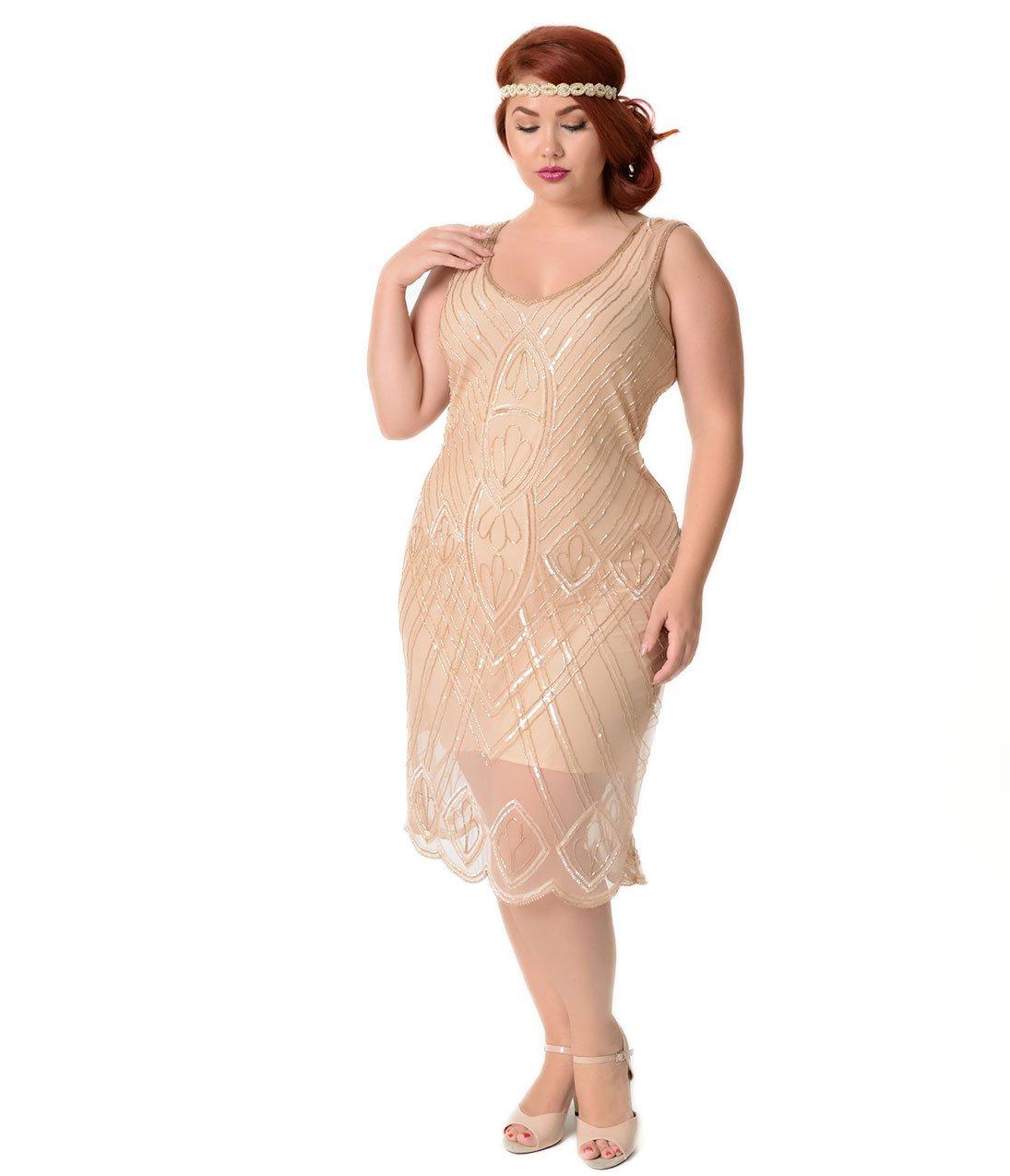 Unique Vintage Plus Size 1920s Style Peach Beaded Dorothea Flapper Dress by Unique Vintage