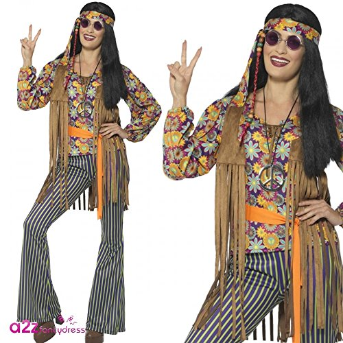 60s Singer Costumes (Smiffy's 44681m Multi-colour 60s Singer Female Costume With Top And Waistcoat)