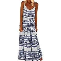 Mymyguoe Vestido de Playa con Correa de Espagueti a Rayas de Talla Grande para Mujer Vestido Suelto y Sexy Maxi Sling Striped Sling Falda Larga Vestido Mujer Verano