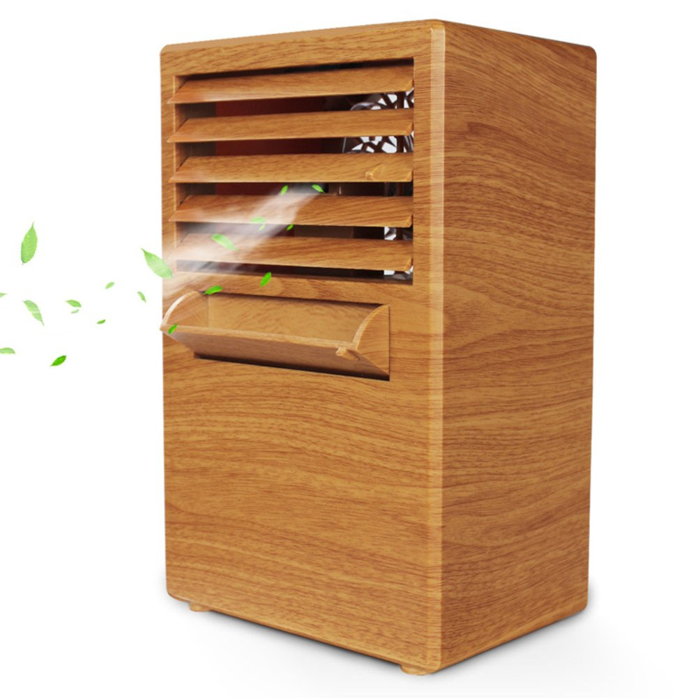 JiaQi Mini Air Cooler,Mini Air Conditioner Cooling Fan,Humidifier Personal Space Cooler Usb Outdoor Camping-Wood color 14.5x10x25cm(6x4x10inch)