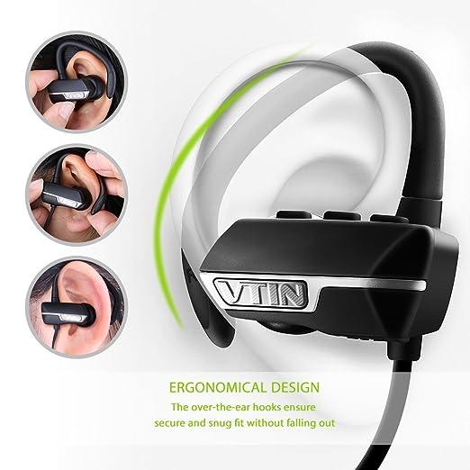 VTIN vrazr auriculares ruido inalámbrico Bluetooth 4.1 Auricular inalámbrico de deporte audífono de ejercicios superpe con Mic para Iphone 6S 6 Plus 6 5S, ...