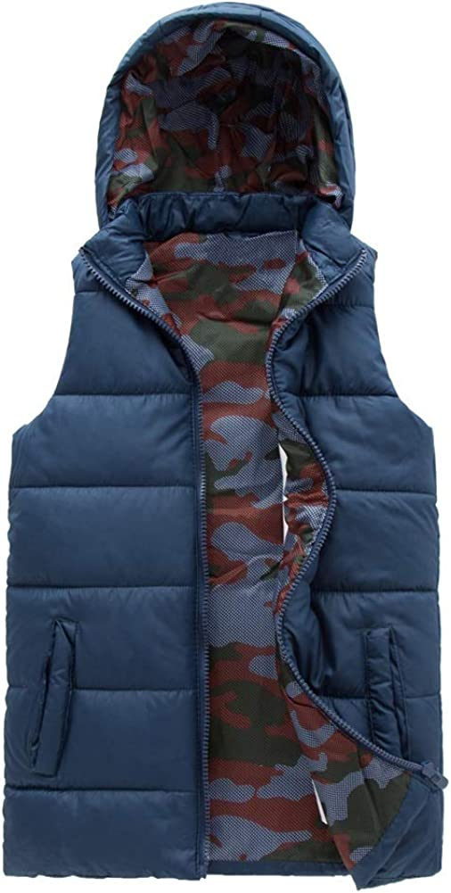 SNOW DREAMS Boys Hood Puffer Quilted Vest Camo Print Lined Zipper Waistcoat