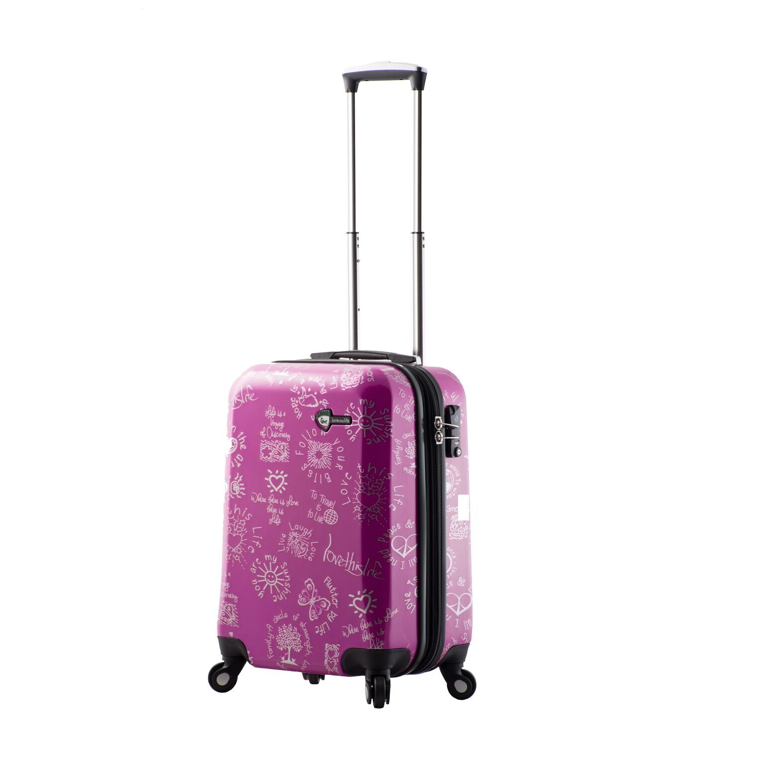 Mia Toro M1089-20in-Pur Love This Life-Medallions Hardside Spinner Luggage 20'' Carry-on, Purple