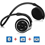 Auriculares Bluetooth V4.1 GRDE Auriculares Inalámbricos Bluetooth Alta Calidad de Sonido, Auriculares Deportivos con Función de FM & Tarjeta TF (Máximo 32G) para Deportes Aire Libre, Camping