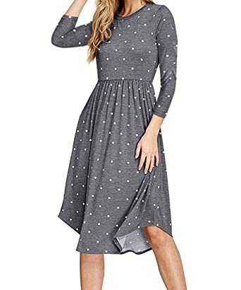 new product 86ee1 38a64 DEMO SHOW Damen Kleider Langarm Plissee Polka Dot Tasche Lose Swing  Freizeit Midi Kleid