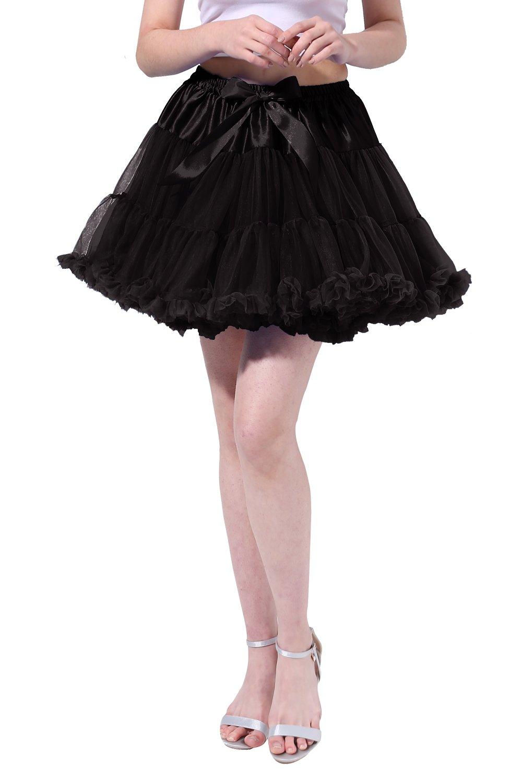 Tsygirls Women's 50s Vintage Bubble Skirt Crinoline Tutu Short Tulle Dance Petticoat Ballet Slip Chemise Underskirts Black Size S-M