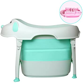 WINGOFFLY Premium Quality Dog Shaped Collapsible Kids Bathtub With Seat (Green)