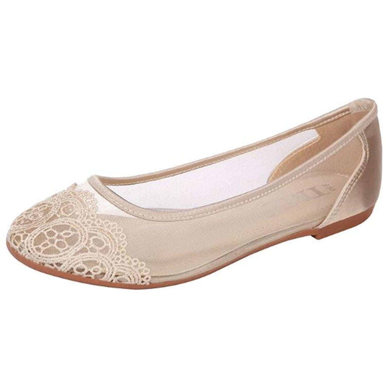 Women's Bridal Wedding Party Lace See Through Ballet Flats Shoes B07CW81112 6 B(M) US