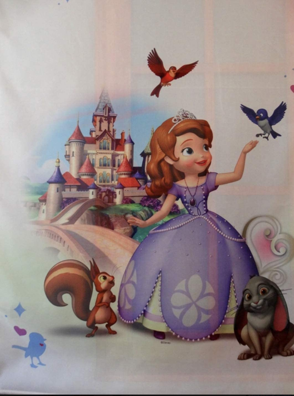 150 x 150 cm D Disney Voile-Vorhang mit Faltenband Prinzessinnen-Design