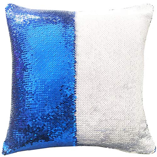 """URSKYTOUS Reversible Sequin Pillow Case Decorative Mermaid Pillow Cover Color Changing Cushion Throw Pillowcase 16"""" x 16"""",White and Dark Blue"""