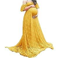Maternity fotografier klänning Lace Fancy Graviditet Gown Off Shoulder Floral för gravida Yellow S