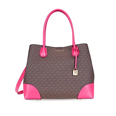 4cd79edcecd5 Amazon.com  Michael Kors Large Mercer Tote- Brown  Ultra Pink  Shoes