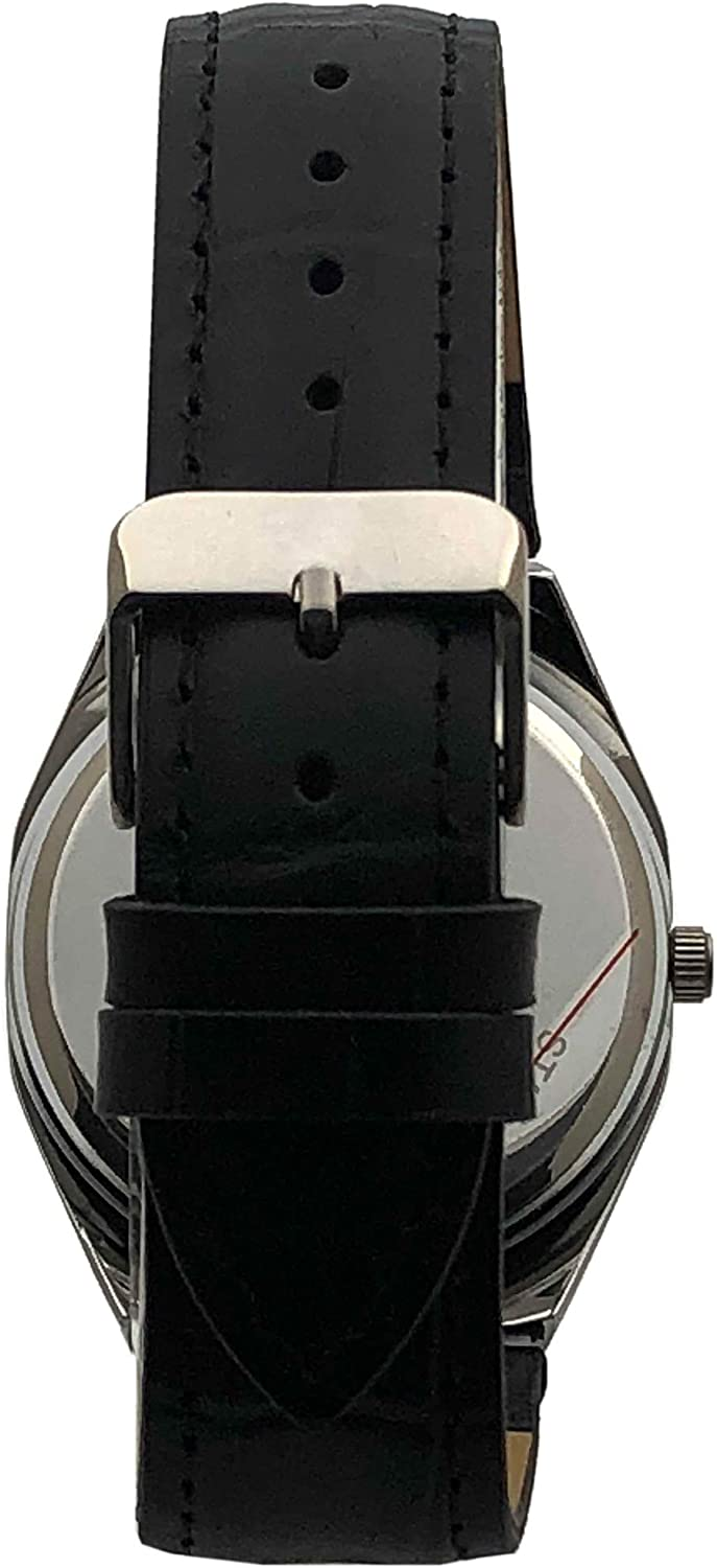 Peugeot Womens Boyfriend Wrist Watch with Crystal Bezel and Matching Leather Color Band Strap Black