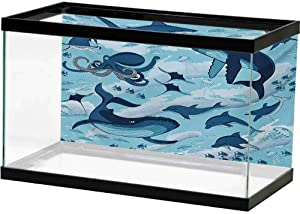 Background Fish Tank Shark,Inhabitants of Ocean Sharks Whales Dolphins Octopus Jellyfish Starfish with Waves Image,Blue Decals Poster