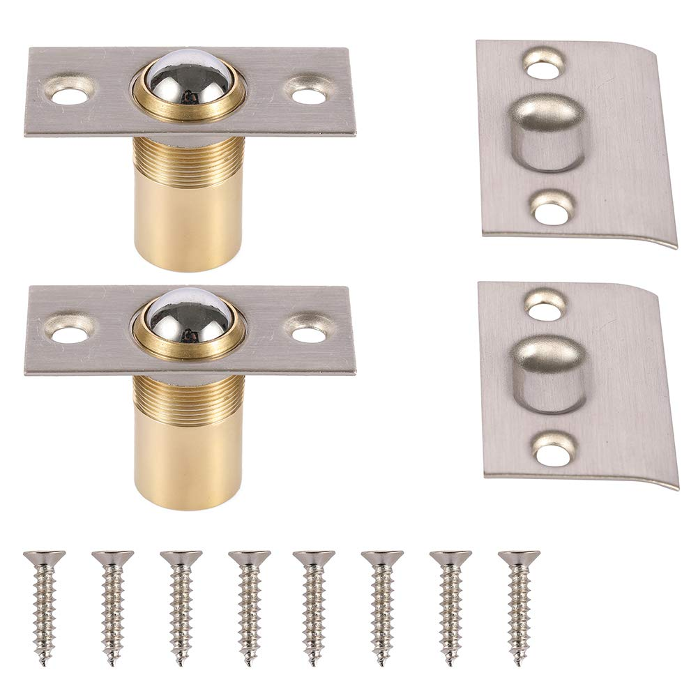 META Hardware Adjustable Cabinet Closet Door Large Ball Catch Latch with Strike Plate Screws 2 1 8 inch Satin Nickel 2 Pack