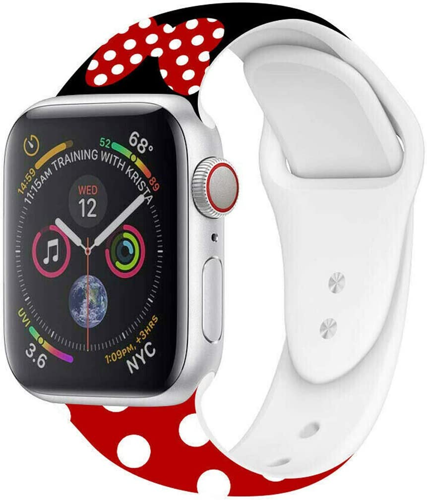 MIADEAL Mickey & Minnie Mouse Bands for Apple Watch, Fit All iWatch Series, 38mm/40mm/42mm/44mm (Red 2, 42mm or 44mm)