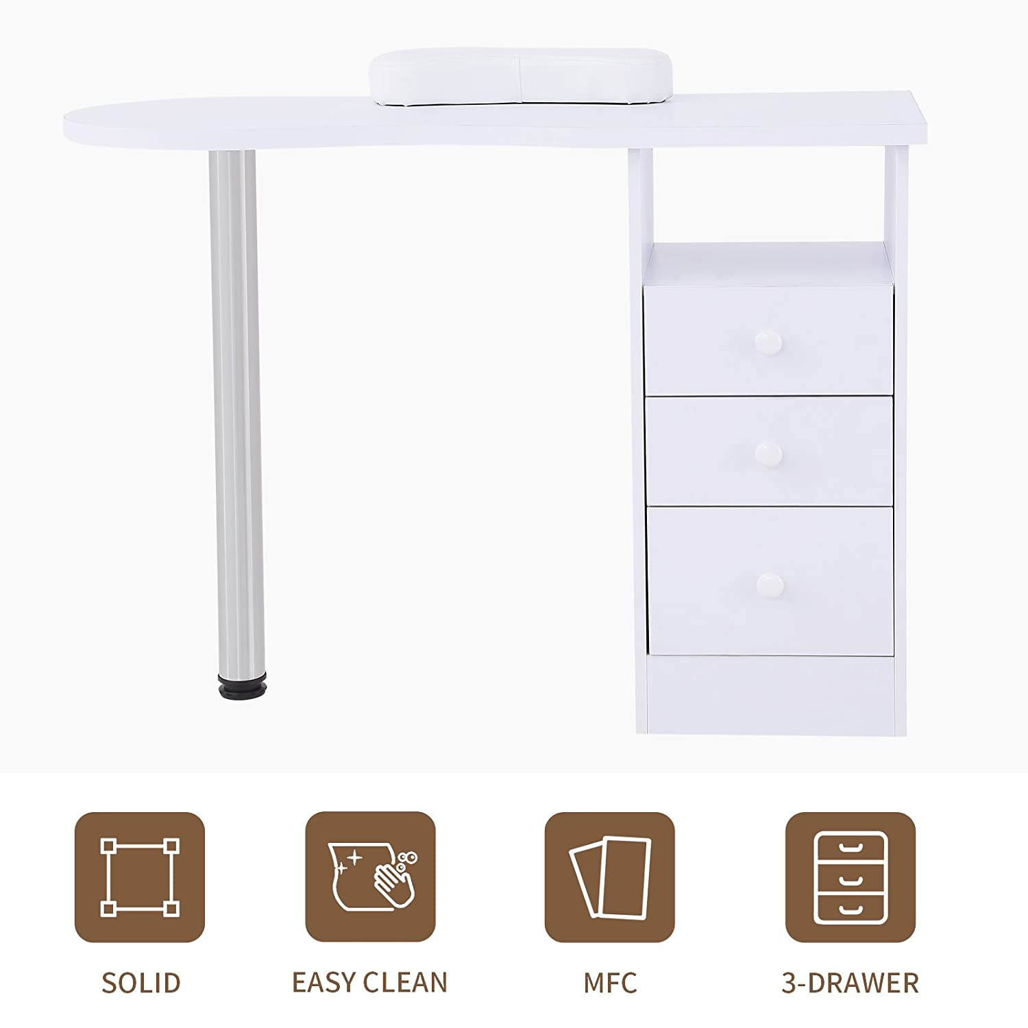 Amazon.com : Murtisol White Manicure Table Nails with 3 Drawers, Spa ...