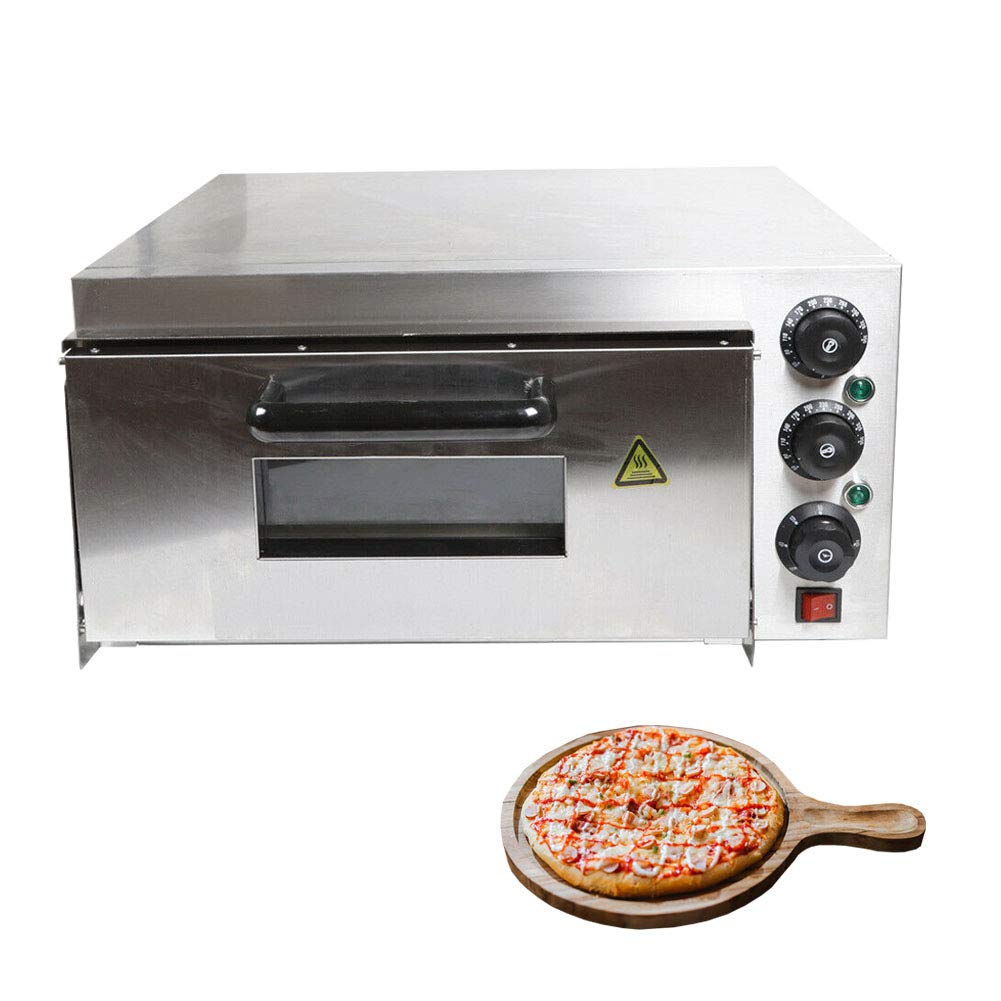 Electric Pizza Oven, 2Kw Countertop Stainless Steel Pizza and Snack Oven Single Deck Baking Equipment for Commercial & Kitchen Use