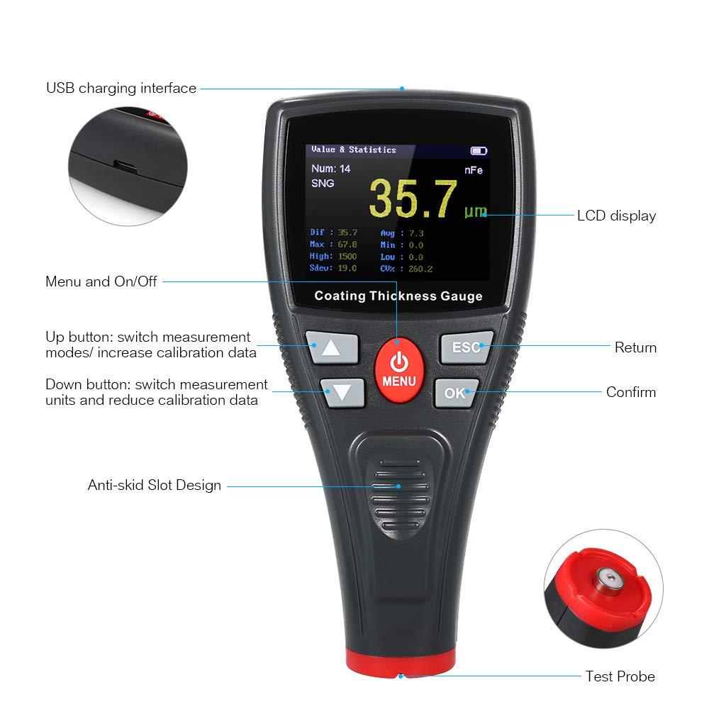 KKmoon Medidor de pintura digital espesor con sonda de color LCD y detector de autom/óviles WT2110