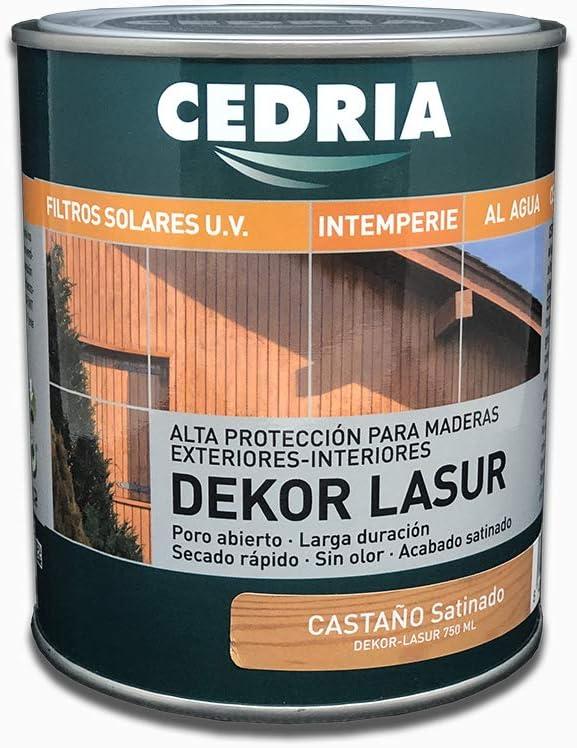 Lasur protector madera exterior al agua Cedria Dekor Lasur 4 litros (Castaño)