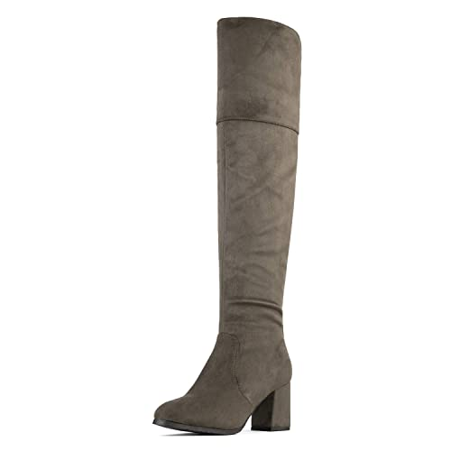 277f7325aab Dream Pairs Women s Stretch HIGH Khaki Thigh High Block Heel Over The Knee  Boots Size 2.5 UK