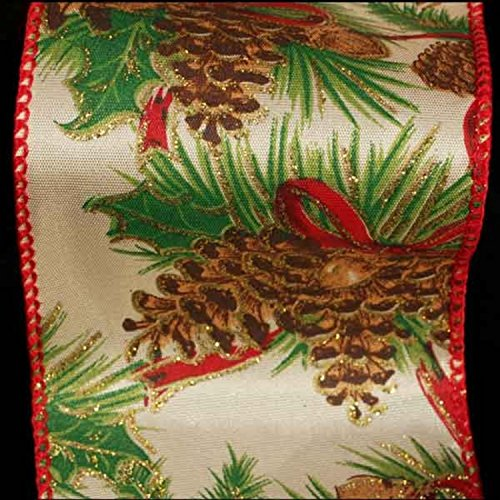 The Ribbon People Ivory with Pinecone Print and Red Edge Wired Craft Ribbon 3
