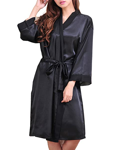 d82709df5b Opkelana Women s Satin Kimono Robe Pure Color Chiffon Trimmed Bathrobe  Sleepwear(Black