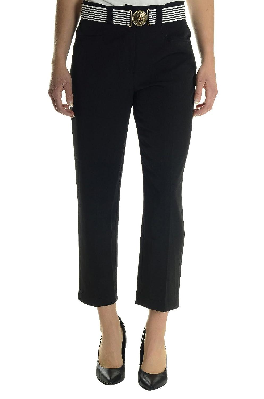 b95030f4c66 Joseph Ribkoff Women s Split Hem Capri Pant with Elastic Belt in Black