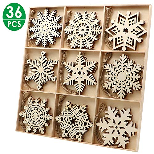 36pcs Wooden Snowflakes Ornaments, PETUOL Christmas Unfinished Wood Snowflakes Shaped Embellishments Hanging Decoration DIY Xmas Tree Hanging Decoration with Drawstrings for Christmas and DIY Craft